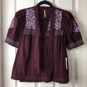NWT Free People XS purple top w/ embroidery